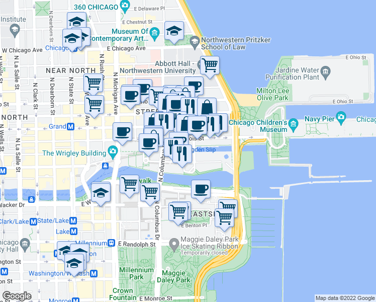 map of restaurants, bars, coffee shops, grocery stores, and more near 480 North McClurg Court in Chicago