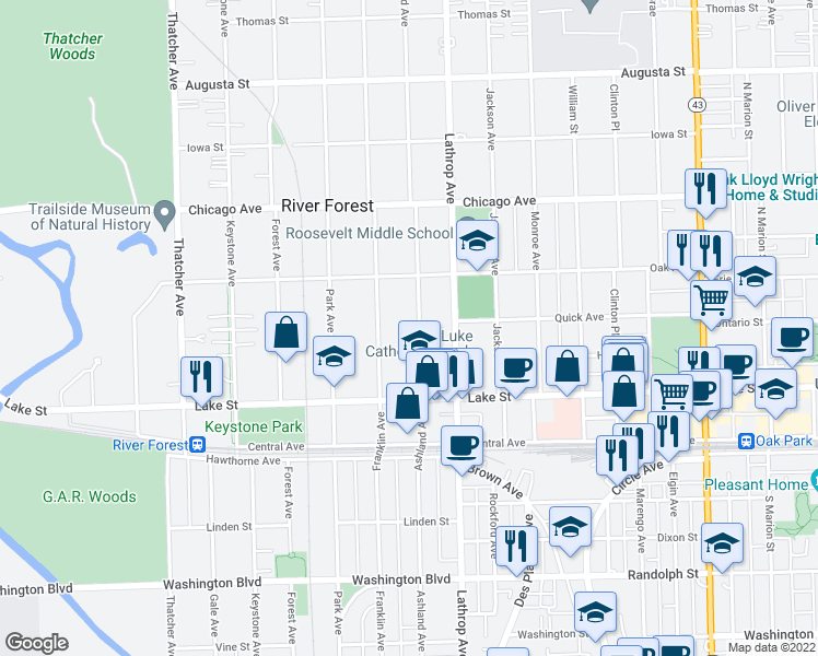 map of restaurants, bars, coffee shops, grocery stores, and more near 558 Ashland Avenue in River Forest