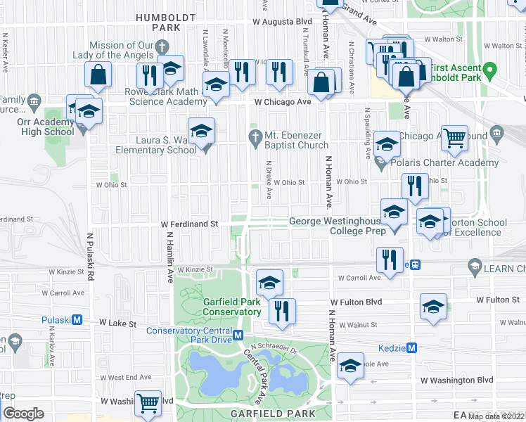 map of restaurants, bars, coffee shops, grocery stores, and more near 3552 West Franklin Boulevard in Chicago