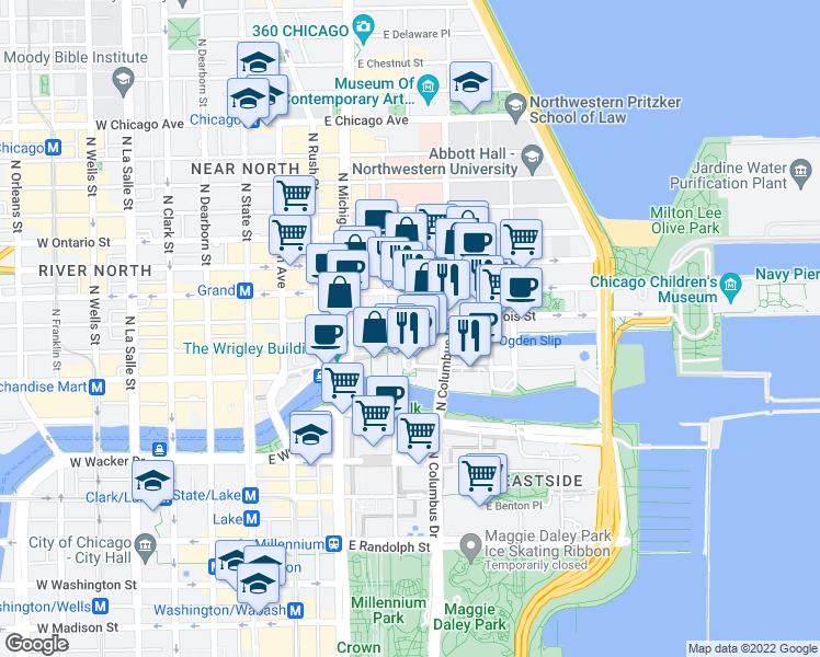 map of restaurants, bars, coffee shops, grocery stores, and more near 217 East Illinois Street in Chicago