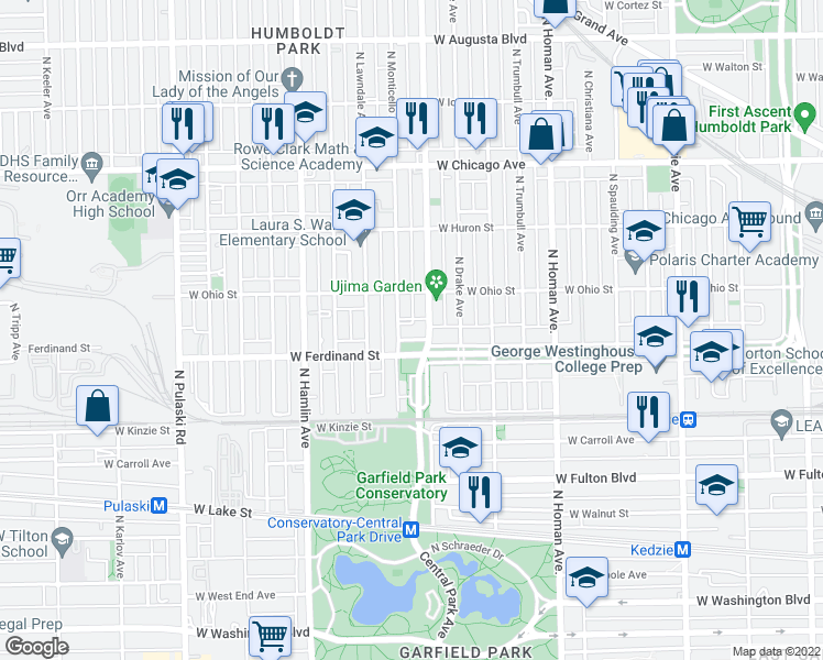 map of restaurants, bars, coffee shops, grocery stores, and more near 3614 West Franklin Boulevard in Chicago