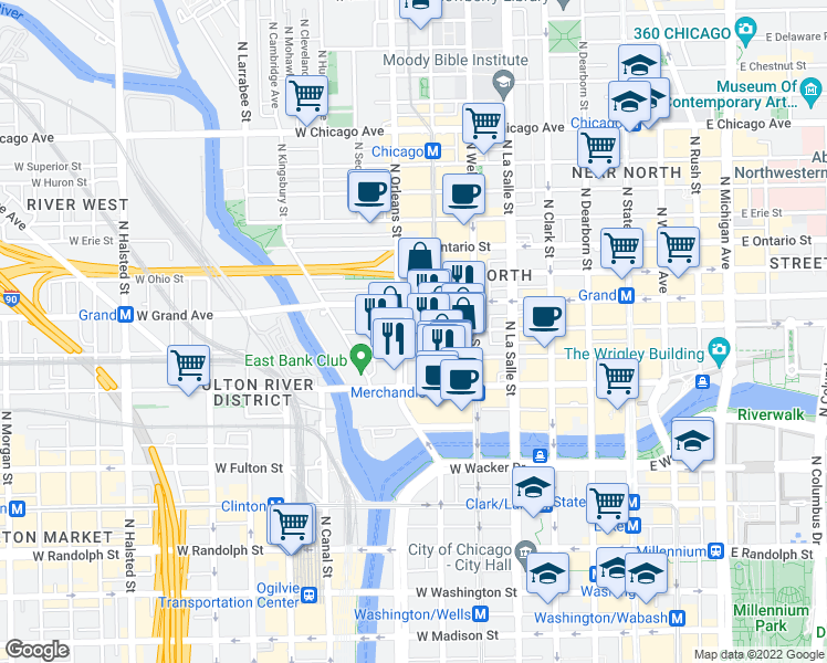 map of restaurants, bars, coffee shops, grocery stores, and more near 309 West Illinois Street in Chicago