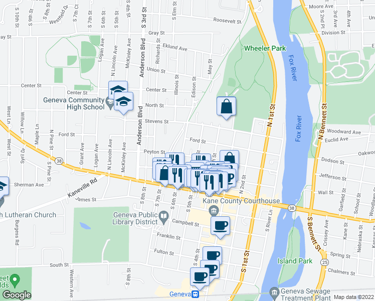 map of restaurants, bars, coffee shops, grocery stores, and more near 521 Peyton Street in Geneva