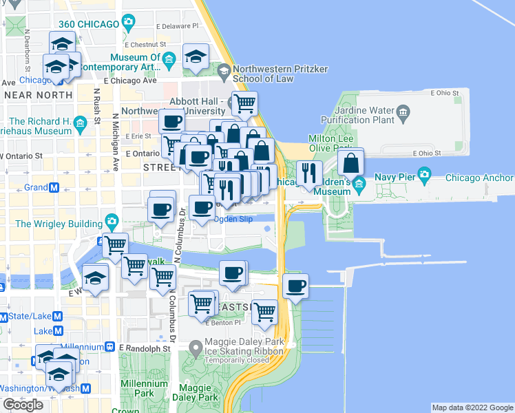 map of restaurants, bars, coffee shops, grocery stores, and more near 465 East Illinois Street in Chicago