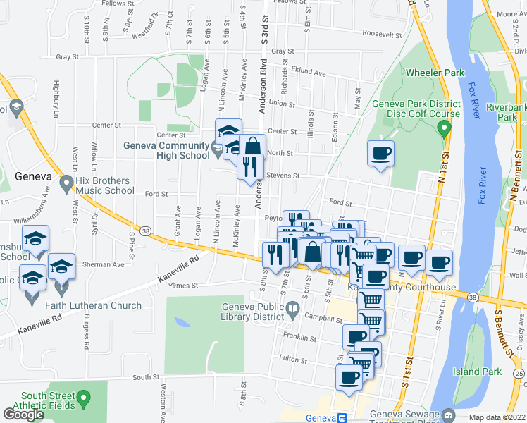 map of restaurants, bars, coffee shops, grocery stores, and more near 205 Anderson Boulevard in Geneva