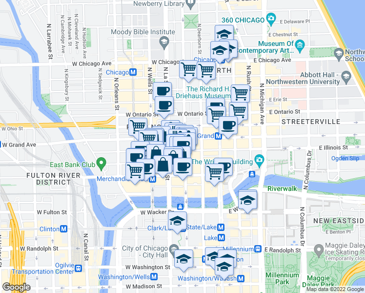 map of restaurants, bars, coffee shops, grocery stores, and more near 506 North Clark Street in Chicago