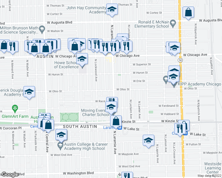 map of restaurants, bars, coffee shops, grocery stores, and more near 600 North Laramie Avenue in Chicago
