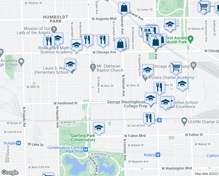 map of restaurants, bars, coffee shops, grocery stores, and more near 3453 West Ohio Street in Chicago