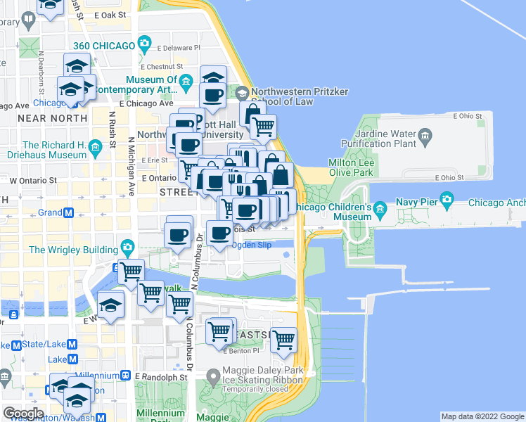 map of restaurants, bars, coffee shops, grocery stores, and more near 432 E Grand Ave in Chicago