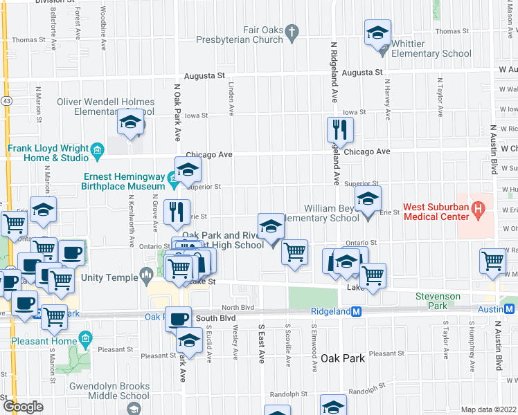 map of restaurants, bars, coffee shops, grocery stores, and more near 321 North East Avenue in Oak Park