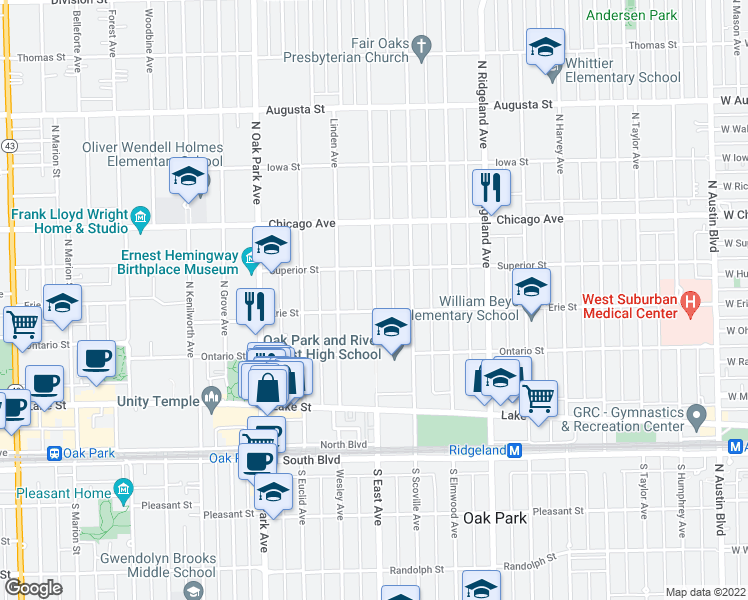 map of restaurants, bars, coffee shops, grocery stores, and more near 321 North Oak Park Avenue in Oak Park