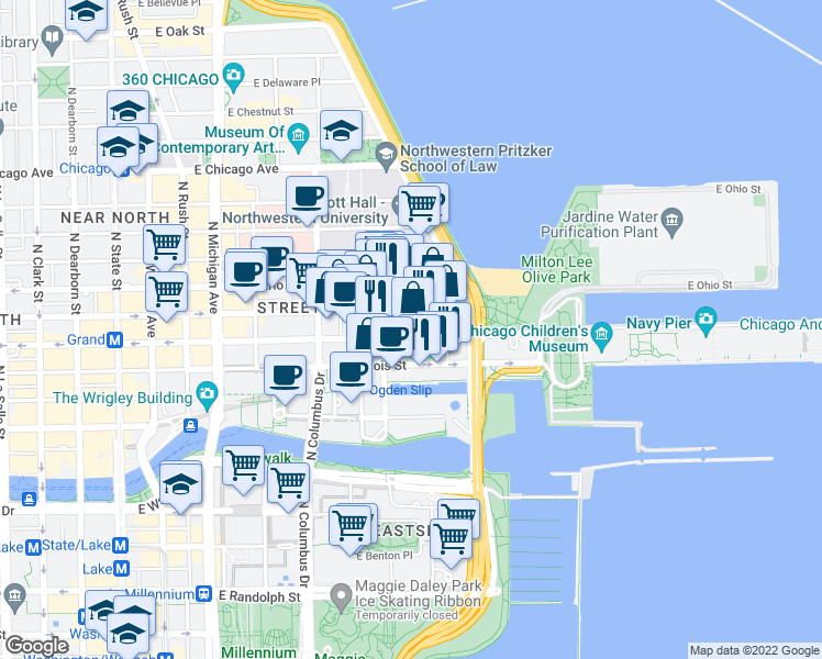 map of restaurants, bars, coffee shops, grocery stores, and more near 445 East Ohio Street in Chicago