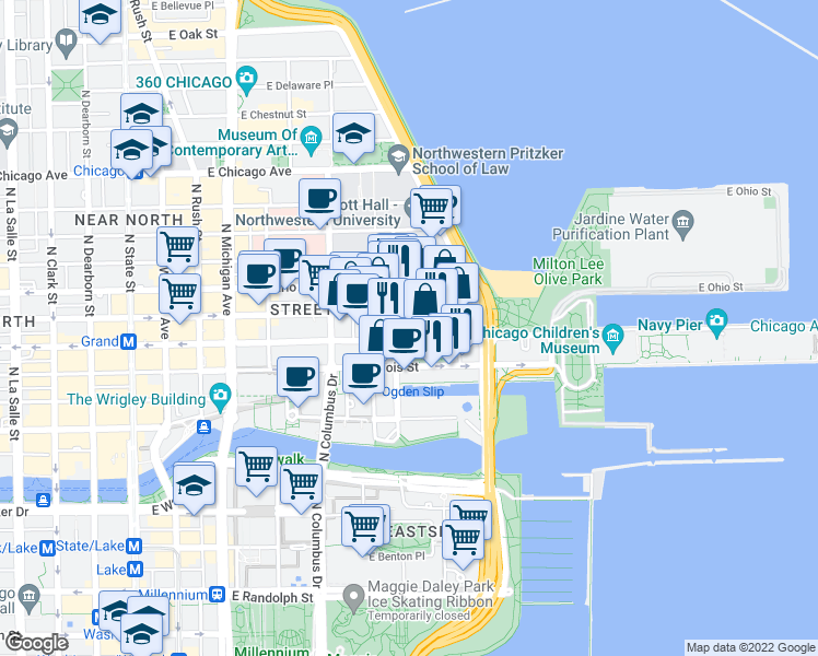 map of restaurants, bars, coffee shops, grocery stores, and more near 545 North McClurg Court in Chicago