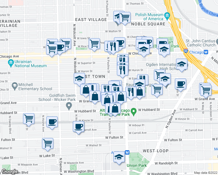 map of restaurants, bars, coffee shops, grocery stores, and more near N Paulina St & W Ohio St in Chicago