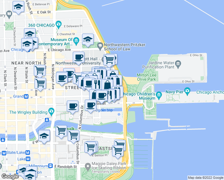 map of restaurants, bars, coffee shops, grocery stores, and more near 453 East Ohio Street in Chicago