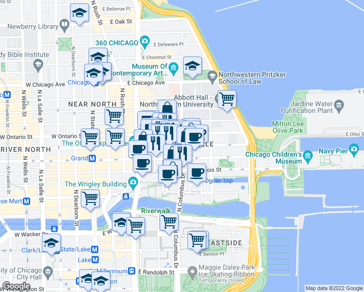 map of restaurants, bars, coffee shops, grocery stores, and more near East Ohio Street & North Fairbanks Court in Chicago