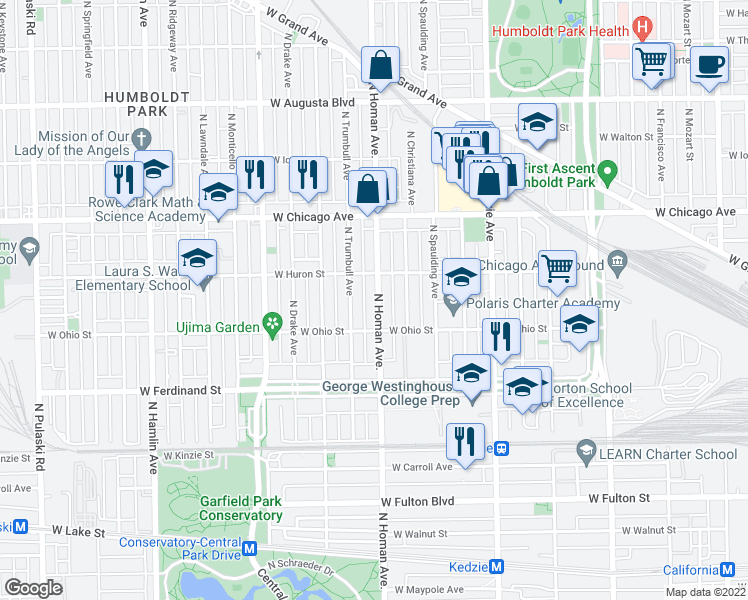 map of restaurants, bars, coffee shops, grocery stores, and more near 654 North Homan Avenue in Chicago