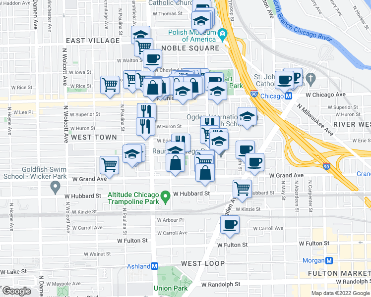 map of restaurants, bars, coffee shops, grocery stores, and more near 1450 West Ohio Street in Chicago