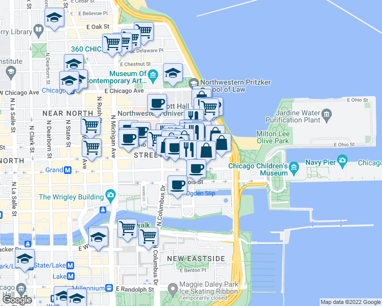 map of restaurants, bars, coffee shops, grocery stores, and more near 372 East Ohio Street in Chicago