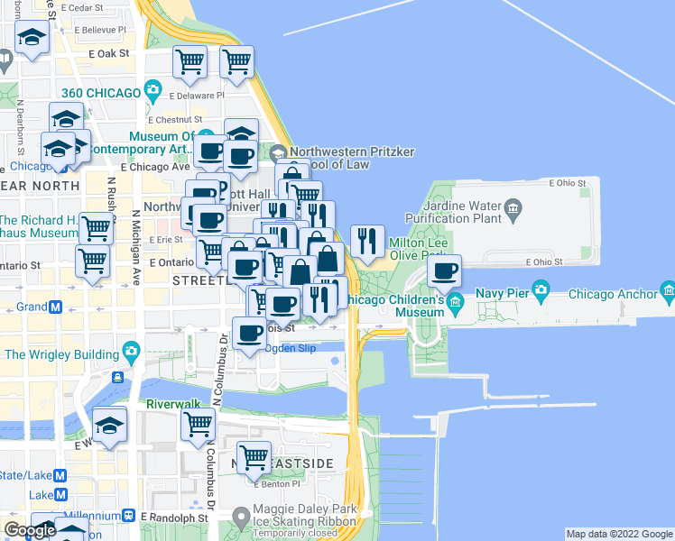 map of restaurants, bars, coffee shops, grocery stores, and more near 530 North Lake Shore Drive in Chicago