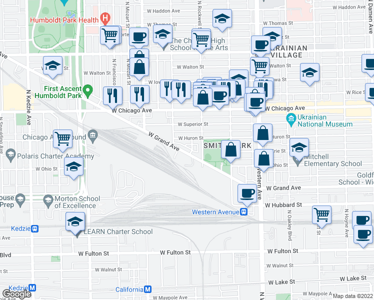 map of restaurants, bars, coffee shops, grocery stores, and more near 2638 West Grand Avenue in Chicago
