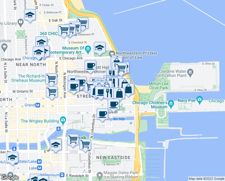 map of restaurants, bars, coffee shops, grocery stores, and more near 401 East Ontario Street in Chicago