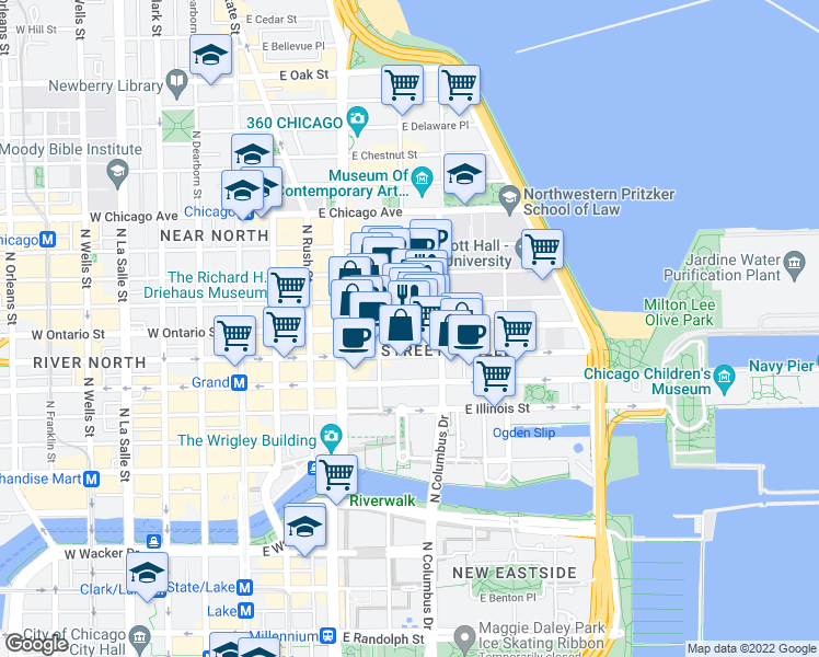 map of restaurants, bars, coffee shops, grocery stores, and more near East Ontario Street in Chicago