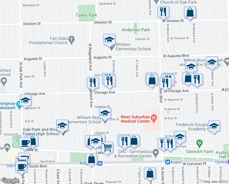 map of restaurants, bars, coffee shops, grocery stores, and more near Chicago Avenue & North Harvey Avenue in Oak Park