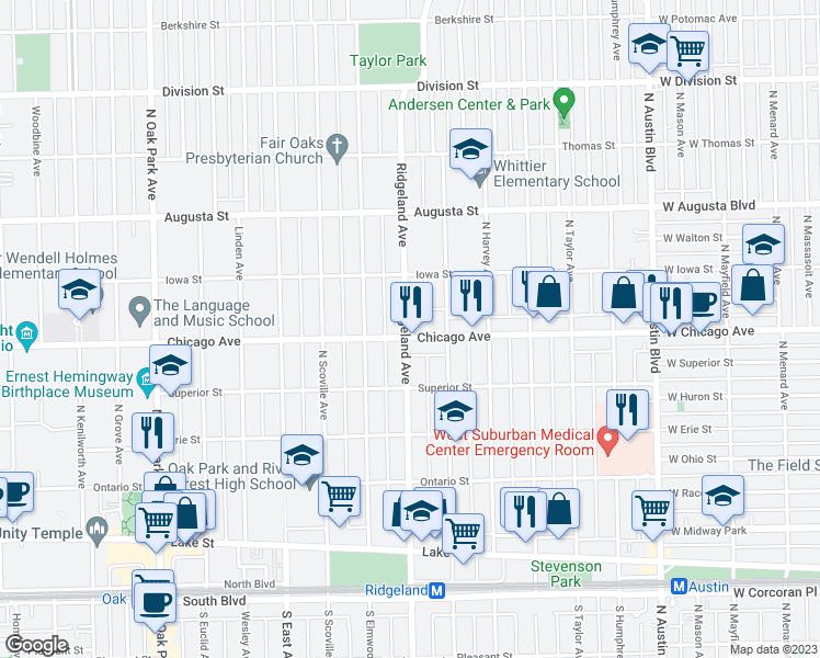 Oak Park Chicago Map.330 Chicago Avenue Oak Park Il Walk Score