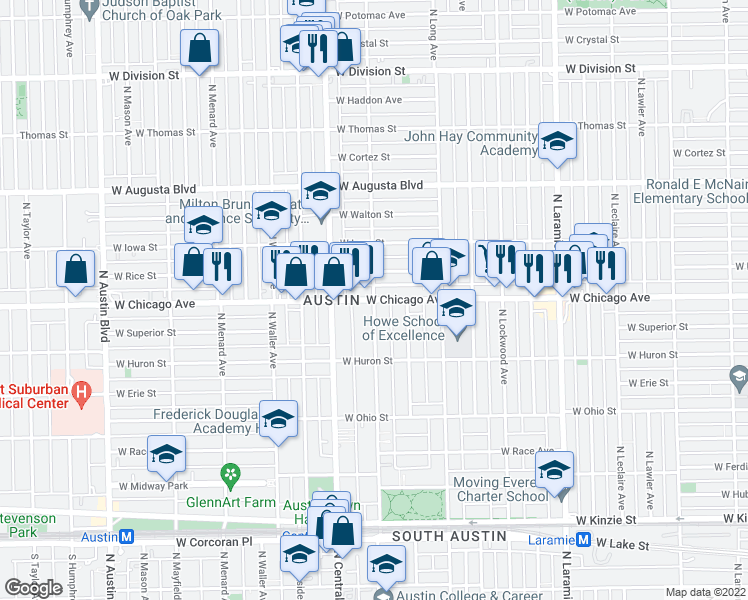 map of restaurants, bars, coffee shops, grocery stores, and more near W Chicago Ave & N Pine Ave in Chicago