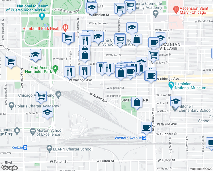 map of restaurants, bars, coffee shops, grocery stores, and more near 2652 West Superior Street in Chicago
