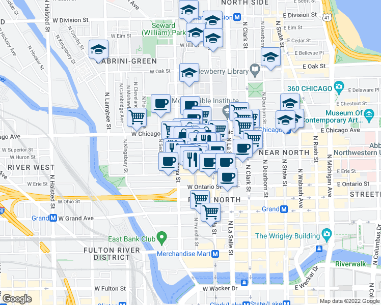 map of restaurants, bars, coffee shops, grocery stores, and more near 301 West Superior Street in Chicago