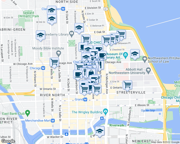 map of restaurants, bars, coffee shops, grocery stores, and more near in Chicago