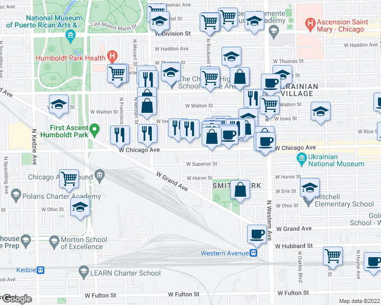 map of restaurants, bars, coffee shops, grocery stores, and more near 2641 West Chicago Avenue in Chicago