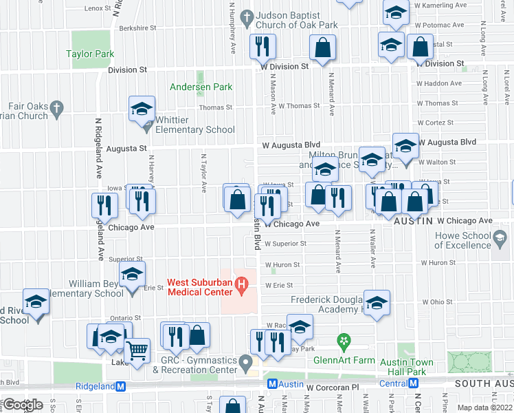 map of restaurants, bars, coffee shops, grocery stores, and more near North Austin Boulevard in Oak Park