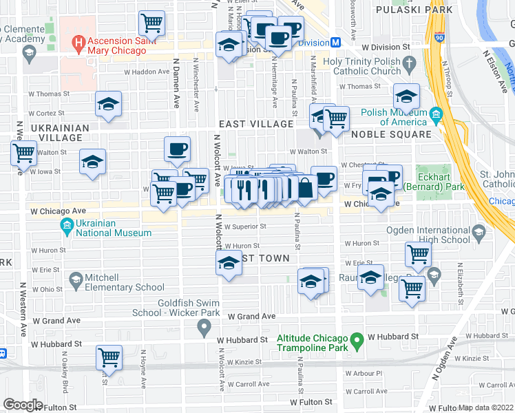 map of restaurants, bars, coffee shops, grocery stores, and more near 800 North Wood Street in Chicago