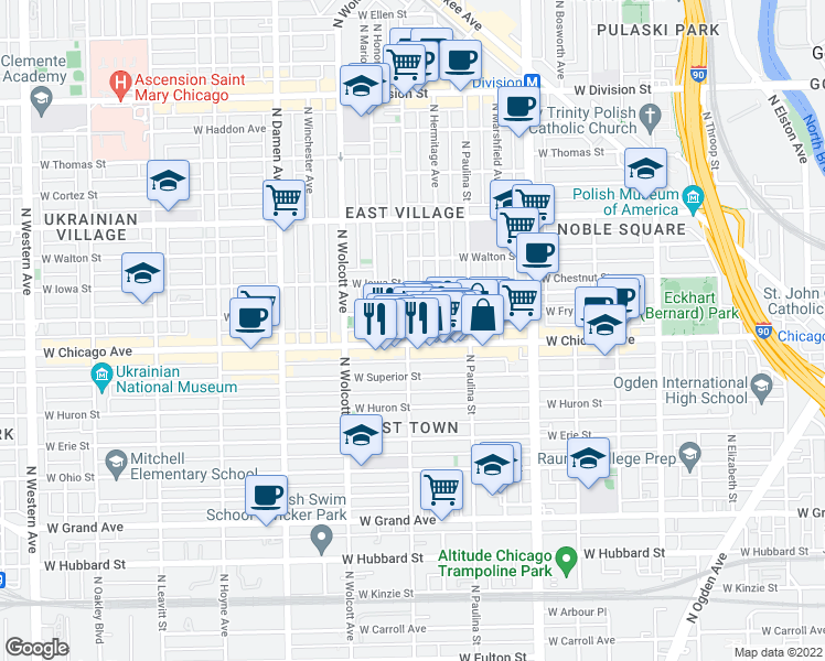 map of restaurants, bars, coffee shops, grocery stores, and more near 811 North Wood Street in Chicago