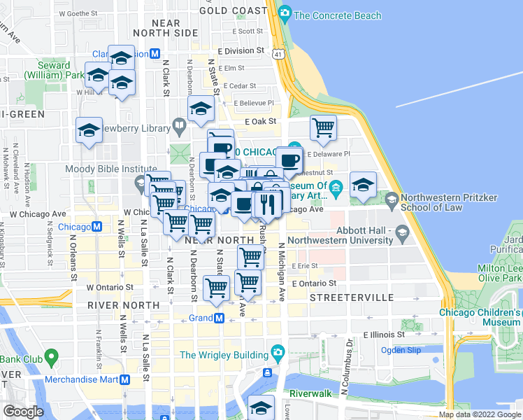 map of restaurants, bars, coffee shops, grocery stores, and more near E Chicago Ave & N Rush St in Chicago