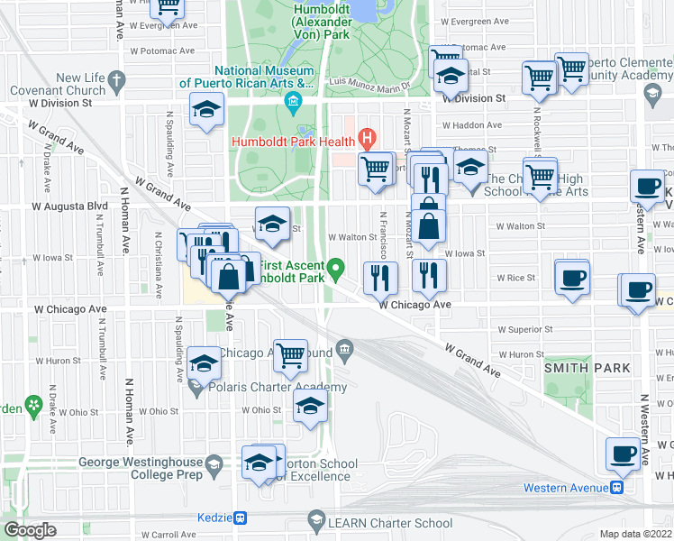 map of restaurants, bars, coffee shops, grocery stores, and more near 841 North Sacramento Boulevard in Chicago