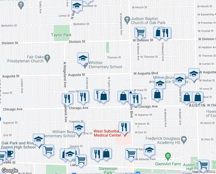 map of restaurants, bars, coffee shops, grocery stores, and more near 615 North Taylor Avenue in Oak Park