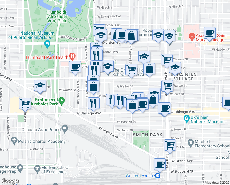 map of restaurants, bars, coffee shops, grocery stores, and more near 916 North Washtenaw Avenue in Chicago