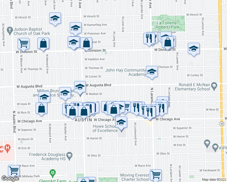 map of restaurants, bars, coffee shops, grocery stores, and more near 5406 West Walton Street in Chicago
