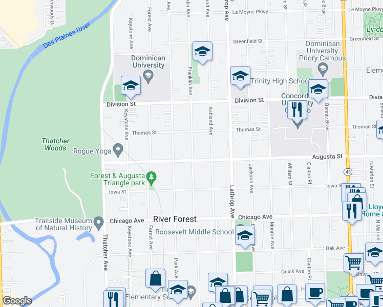 map of restaurants, bars, coffee shops, grocery stores, and more near 1022 Franklin Avenue in River Forest