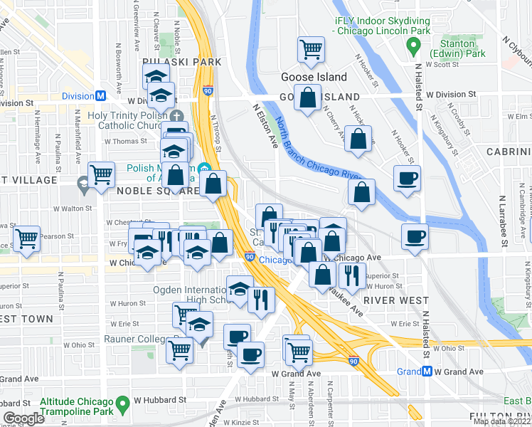 map of restaurants, bars, coffee shops, grocery stores, and more near 933 North Racine Avenue in Chicago