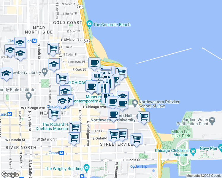 map of restaurants, bars, coffee shops, grocery stores, and more near 216 East Chestnut Street in Chicago