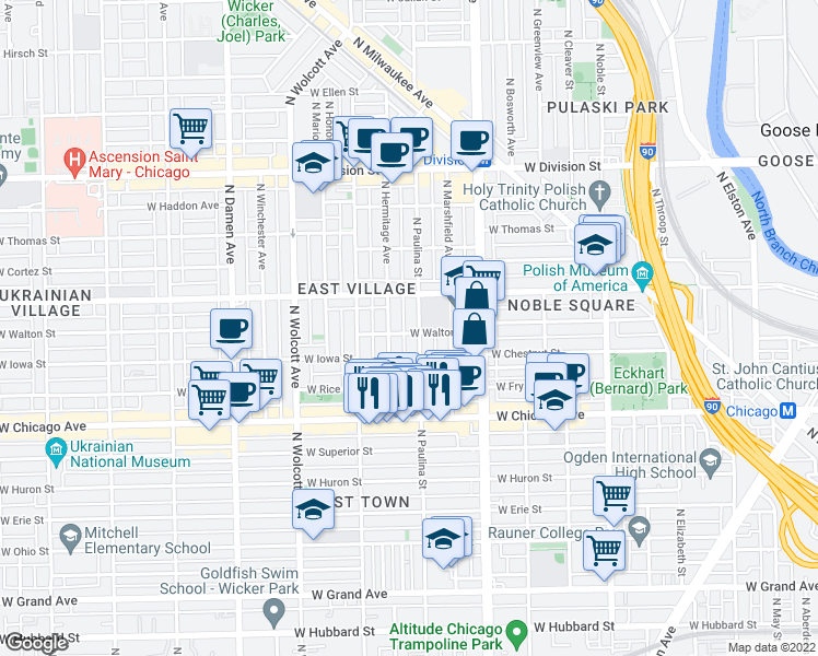 map of restaurants, bars, coffee shops, grocery stores, and more near 1714 West Walton Street in Chicago
