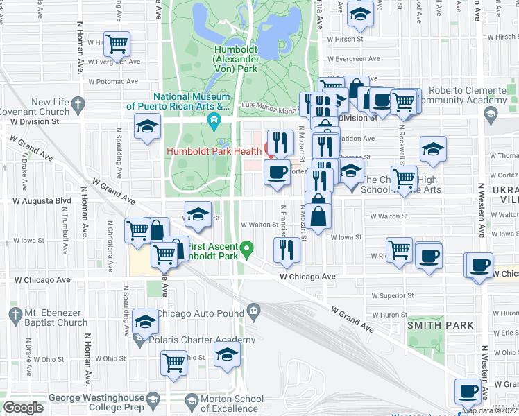 map of restaurants, bars, coffee shops, grocery stores, and more near 1003 North Richmond Street in Chicago