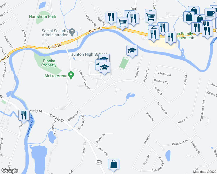 map of restaurants, bars, coffee shops, grocery stores, and more near 30-54 Williams Street in Taunton