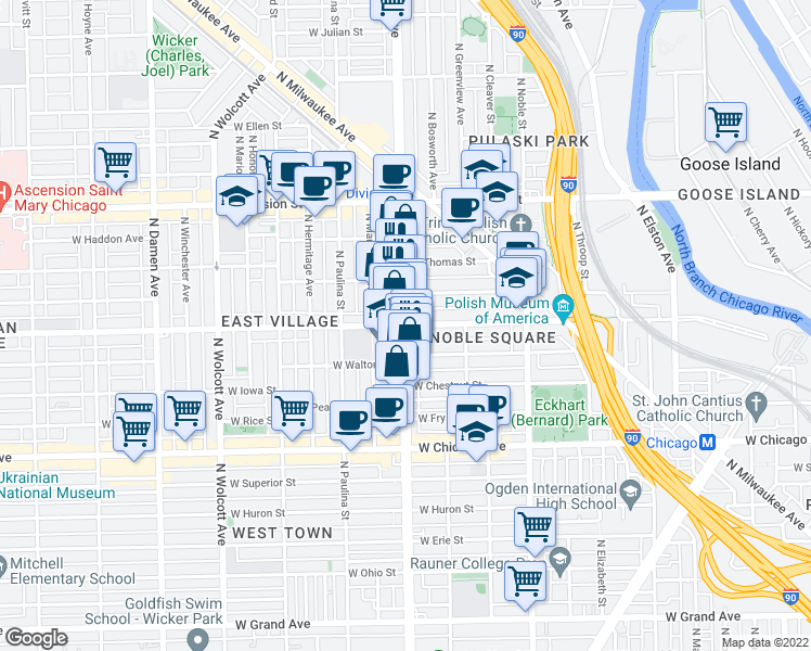 map of restaurants, bars, coffee shops, grocery stores, and more near N Ashland Ave & W Augusta Blvd in Chicago