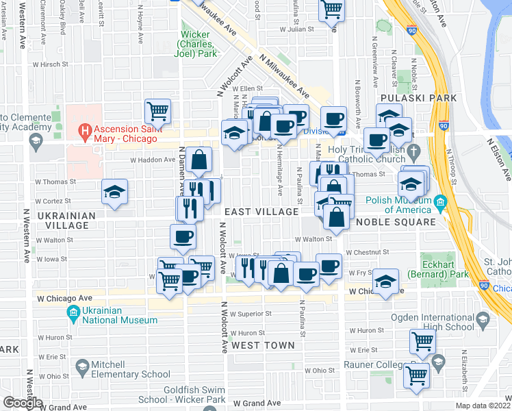 map of restaurants, bars, coffee shops, grocery stores, and more near 1012 North Wood Street in Chicago